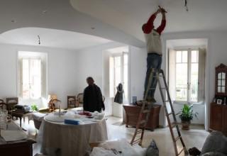 work in progress, renovation, living room, lamps